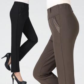 中老年女裤老年人女装冬长裤高腰中年妈妈春秋