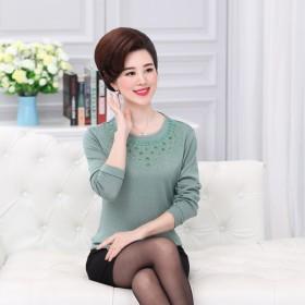 中老年女装春装装针织衫长袖T恤妈妈装打底衫薄款毛衣