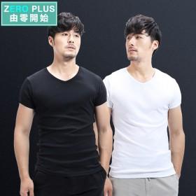 两件套男士纯棉短袖T恤纯色打底衫