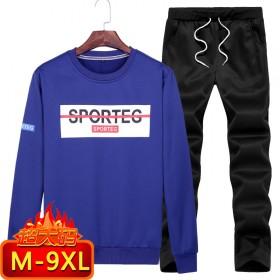 9XL加大码春季休闲运动套装圆领套头卫衣长袖长裤男