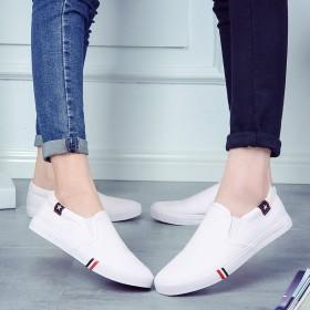 帆布鞋套脚懒人鞋男女小白鞋休闲情侣鞋