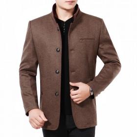男夹克羊毛呢子外套休闲立领大衣男中年修身加厚爸爸装