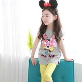 女童短袖T恤套装中大童五分裤两件套潮