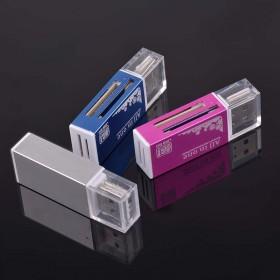 铝合金4合1多功能读卡器TF SD MS M2手机