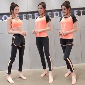 春夏瑜伽服四件套大码胖MM健身跑步运动服