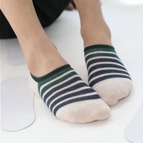 北极绒春夏薄款全棉男船袜防臭隐形袜浅口条纹棉袜子