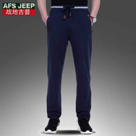 战地吉普春季薄款运动裤男长裤宽松青年跑步松紧卫裤