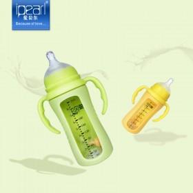 爱贝尔防摔玻璃奶瓶带吸管防胀气硅胶套宝宝奶瓶