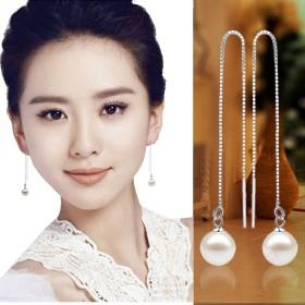 s925纯银珍珠耳环防过敏超长款耳坠女气质流苏耳链