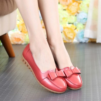 新款头层牛皮平跟软底女单鞋豆豆鞋