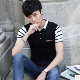 男士夏季短袖t恤韩版修身条纹青年翻领POLO衫