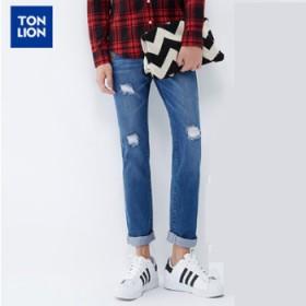 唐狮男装破洞斑点补丁男青年冬装新款中腰直通牛仔长裤