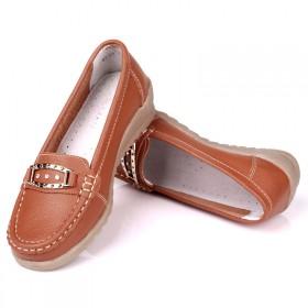 MG CAMEL春季真皮女鞋中老年圆头低帮豆豆鞋