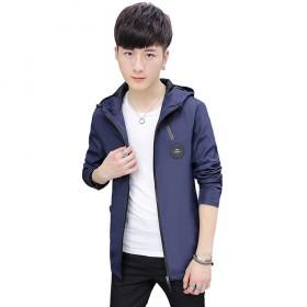 2017新款青少年韩版修身中长款风衣夹克外套