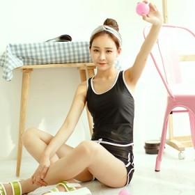韩国运动分体平角小胸聚拢遮肚显瘦学生保守游泳衣女
