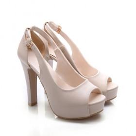 夏欧美超高跟粗跟浅口防水台鱼嘴鞋纯色厚底凉鞋女