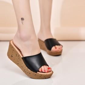 真皮凉拖鞋女鞋厚底松糕鞋