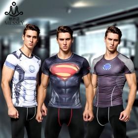 超人健身紧身衣男短袖速干钢铁侠美国队长篮球训练服跑