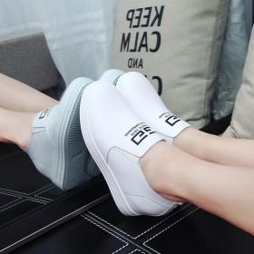 休闲小白鞋韩版厚底乐福鞋内增高女单鞋