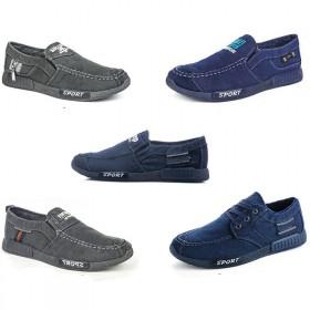 新款帆布鞋男士一脚蹬 韩版低帮百搭休闲鞋个性懒人鞋