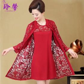 40-50岁妈妈装婚礼大码蕾丝连衣裙中老年女装时尚