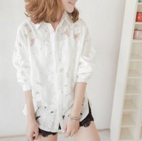 新款欧根纱花朵衬衫小清新防嗮甜美衬衣
