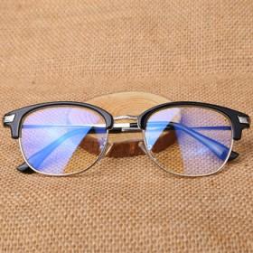 复古半框防辐射眼镜框架