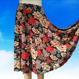 一片式中长裙圆环显瘦夏天松紧腰广场舞裙