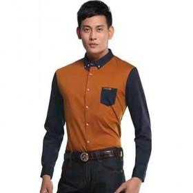 丝光棉衬衫男装弹力抗皱100%纯棉专柜正品剪标衬衣