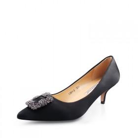 2017新款方扣水钻丝绸缎单鞋中低跟女高跟鞋