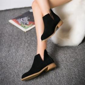 2016春秋季真皮裸靴欧美尖头女靴马丁靴潮女短靴英
