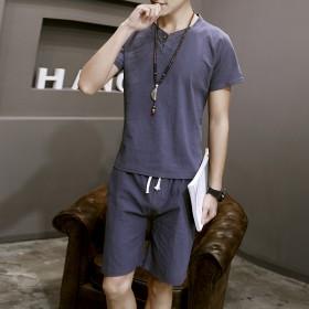 2017夏季男士亚麻睡衣套装韩版青年透气短袖短裤薄