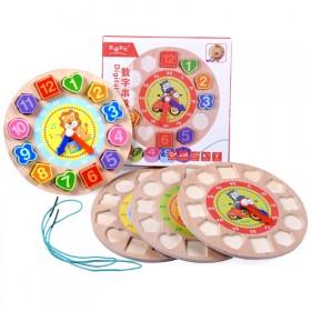 数字串珠时钟男女孩木质拼图儿童早教益智拼板积木玩具