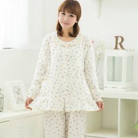 夏季双层纱布月子服 透气薄款哺乳睡衣