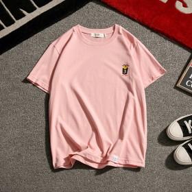 男士粉色t恤男短袖 潮流夏季简单韩版学生