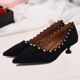 优雅浅口尖头单鞋低跟珠饰细跟女鞋潮