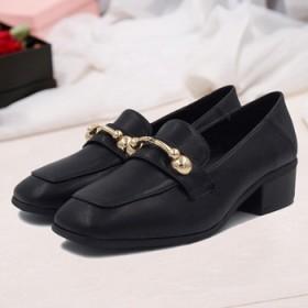 方头中跟单鞋韩版时尚粗跟女鞋