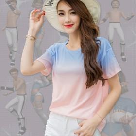 纯棉打底宽松短袖 渐变色女T恤纯色中长款半袖大圆衫