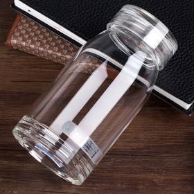 玻璃杯便携水晶透明男女单层加厚耐热大容量带盖圆形泡