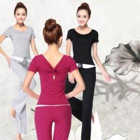 长短袖大码瑜伽服套装女春夏季纯棉宽松显瘦修身莫代尔