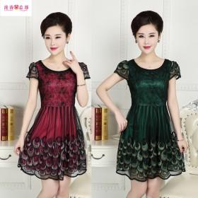 夏装短袖蕾丝高端品连衣裙