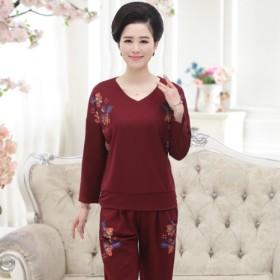 春秋季中老年套装中年人女妈妈装大码长袖纯棉外穿运动