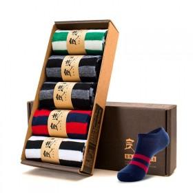 5双礼盒装男士短筒袜子