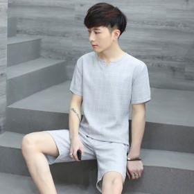 夏季男士睡衣青年大码亚麻短袖短裤男款家居服棉麻套装