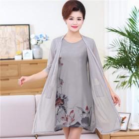 中老年女装春夏款连衣裙两件套装妈妈装大码开衫