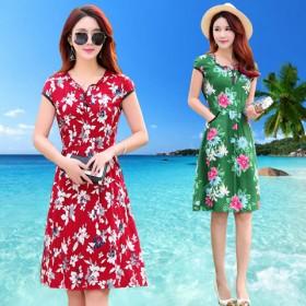 夏季中老年女装绵绸连衣裙短袖印花