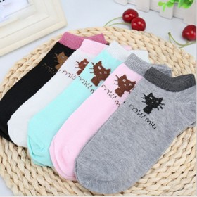 (5双装)涤棉女船袜 可爱卡通猫咪女士短袜