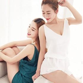 真丝睡衣 闺蜜女神 家居服 甜美深V睡衣女孩两件套