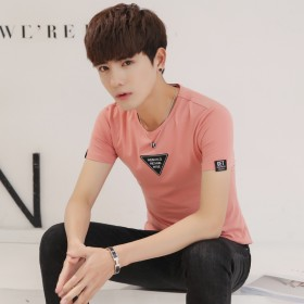 男士短袖t恤新款纯棉修身体恤夏季休闲潮流男青年上衣