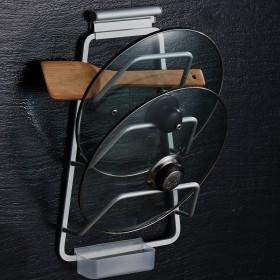 厨房锅盖架免打孔墙上壁挂太空铝厨房置物架多功能收纳